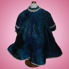 Pretty Vintage Blue Silk Doll dress