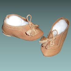 Pair of Brown Suede Leather Boy Doll Shoes