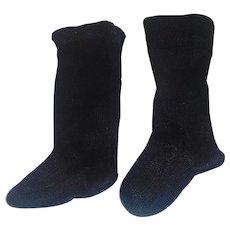 Nice Pair of Antique Black Doll Stockings