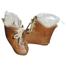 Wonderful Pair of Antique Doll Boots with Antique Stockings