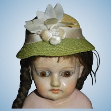Yellow and Green Vintage Straw Doll Hat / Cloche