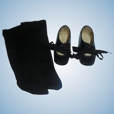 Pair of Black Patent Leather French Paris Doll Child Shoes w Stockings