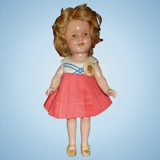 "Sweet 13"" Composition Shirley Temple Doll, Needs a little TLC"