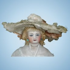 Lovely Antique Straw Hat, French Fashion, Ribbons and Flowers