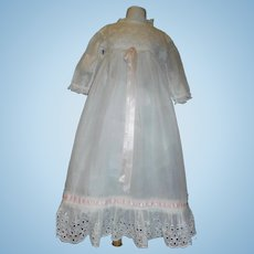 Pretty Antique Doll Dress. Eyelet Lace, Pink Ribbons