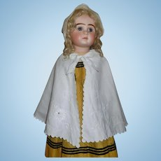 Lovely Antique White Pique  Embroidered Large Doll Cape
