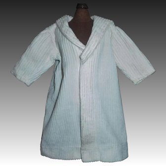 Nice Early Vintage White Corduroy Doll Coat, Mariner Style Collar