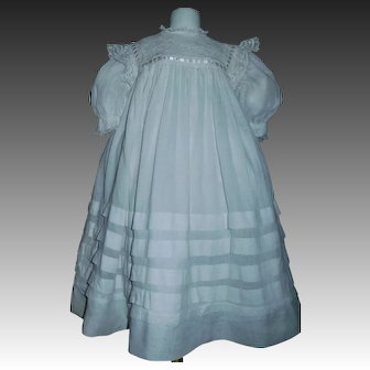 Pretty Antique White Semi Sheer Large Doll Dress w Slip, Lace and Ribbon