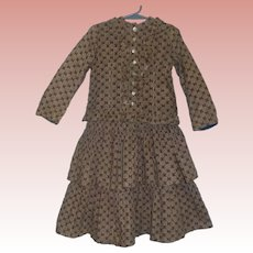 Girl's Antique Cotton Calico 2 Pc Dress, Ca 1800s