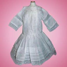 Pretty White Cotton Doll Dress, Pintucks / Lace