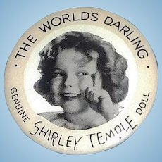Original Ideal Toy Co. Celluloid Shirley Temple Doll Pinback.