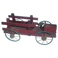 Old Primitive Made Red Wood Painted Wagon, Fire, Tractor