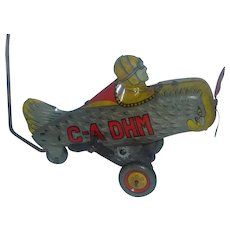 Vintage Tin Wind-up Toy Airplane Japan, C-A DHM for Repair / Parts
