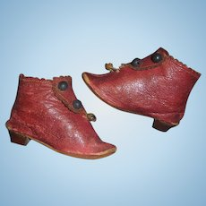 Nice Pair of Antique Red Leather JJ Fashion Doll Boots