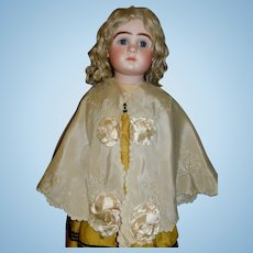 Beautiful Antique Champagne Silk Embroidered Doll Cape
