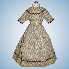 Lovely Brown Calico Print Doll Dress, China, Papier Mache