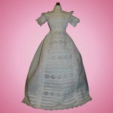 Fabulous Antique White Eyelet Doll Gown