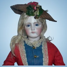 Lovely Antique Straw Fashion Doll Hat with Leather Gloves
