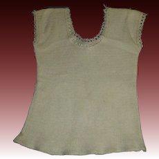Light Ecru Wool Knit Undershirt for a Fashion, Lady