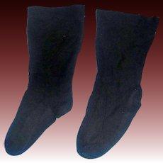 Pair of Black Silk Doll Stockings, China, Papier Mache, Cloth