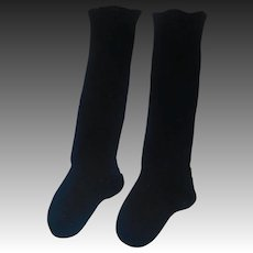 Pair of Antique Black High Doll Stockings, Kestner, Handwerck