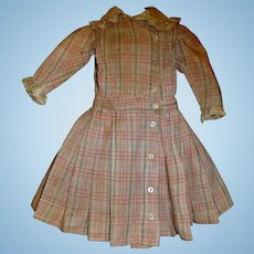 Wonderful Red Plaid Antique French or German Doll Dress