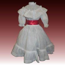 Pretty Antique 2 Pc White Organdy Doll Dress