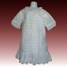 Lovely White Cotton Antique Child / Doll Dress