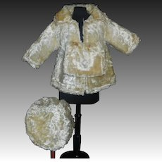 White Faux Fur Doll Coat, Hat and Muff