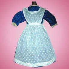 Lovely Antique Dark Blue Cotton Polka Dot Dress with Swiss Dot Apron