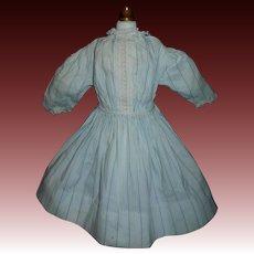 Lovely Early Blue Pin Stripe Doll Dress, China, Lady