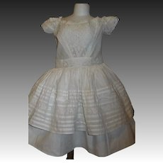 Pretty White Double Layer Antique Large Doll Dress