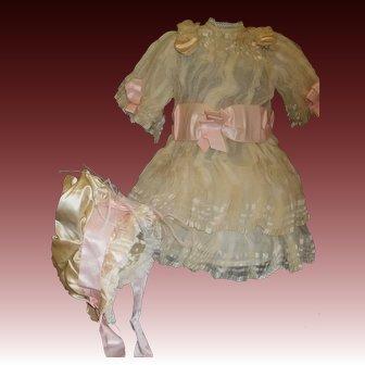 Beautiful Soft Silk Doll Dress and Bonnet, Jumeau, Bru, Steiner