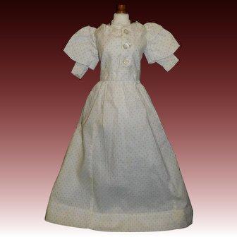 Nice White Cotton Print 2 Pc Doll Dress, China, Cloth, Papier Mache