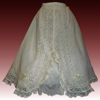 Pretty Antique Double Skirt /  Petticoat, Fabulous Lace
