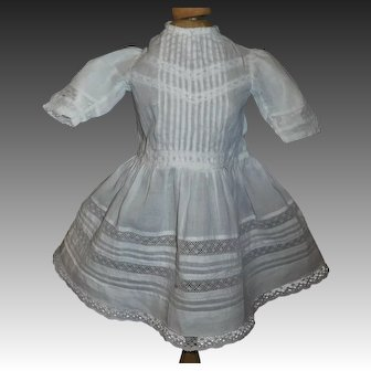 Sweet Early Doll Dress, Pintucks and Lace