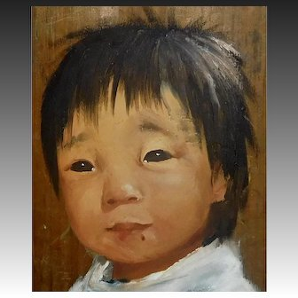 Early Signed Dianne Dengel Asian Child Oil Painting on Barn Board