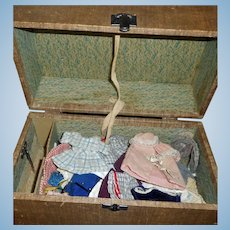 Early Trunk with 45 Pieces of Antique / Early Vintage Small Doll Clothes