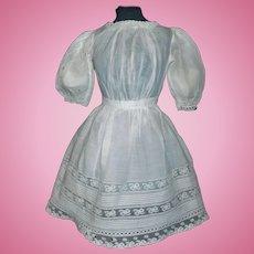 Pretty Antique White Doll Dress w Damage