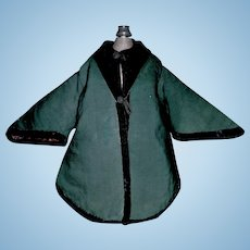 Fabulous Antique Green Silk Doll Coat