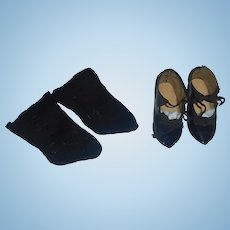 Nice Pair of Black HH Doll Shoes with Antique Black Stockings