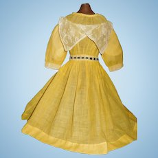 Lovely Antique Yellow Doll Dress