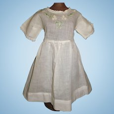 Sweet  White Early Doll Dress, Embroidered Bodice