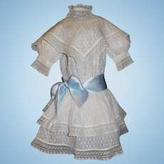 Lovely Antique White Dotted Swiss Doll Dress, French / German