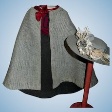 Fabulous Antique 6 Pc Doll Outfit, Papier mache, China, Cloth