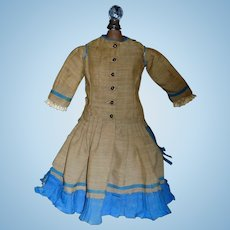 Antique Silk Doll Dress w Antique Wool Slip Ca 1860, Damage