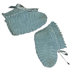 Sweet Pair of Antique Blue Silk Baby Doll Booties
