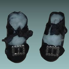 Nice Pair of Black Oil Cloth Doll Shoes