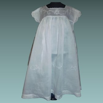 Nice White Dress for a Large Doll. Floral Stitching