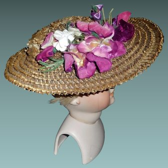 Wonderful Antique Straw Hat, Large Doll